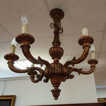 Chandelier antique wood