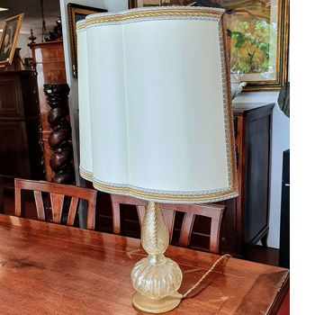 Antique crystal and gold table lamp